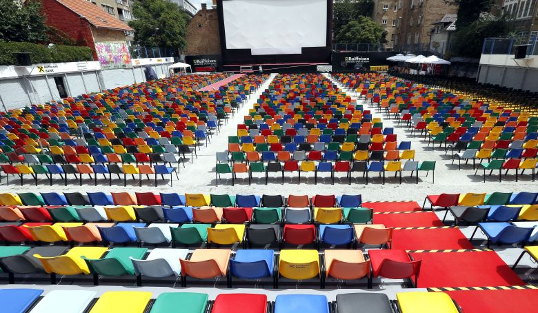 A view of the seats at the open-air cinema for the 25th Sarajevo Film Festival, in Sarajevo, Bosnia and Herzegovina 16 August 2019. The festival, which runs from 16 to 23 August, will feature 270 movies.25th Sarajevo Film Festival, Bosnia And Herzegovina - 16 Aug 2019