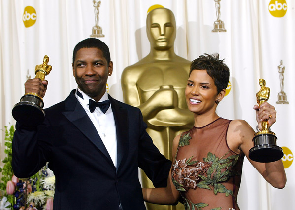 Image result for washington with berry and poitier on oscar night