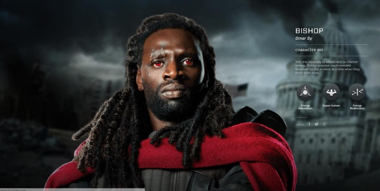 watch omar sy in action as bishop in new clip from x men days of in the upcoming x men days of future past omar sy plays bishop the son of aborigine mutant refugees whose powers include energy absorption and