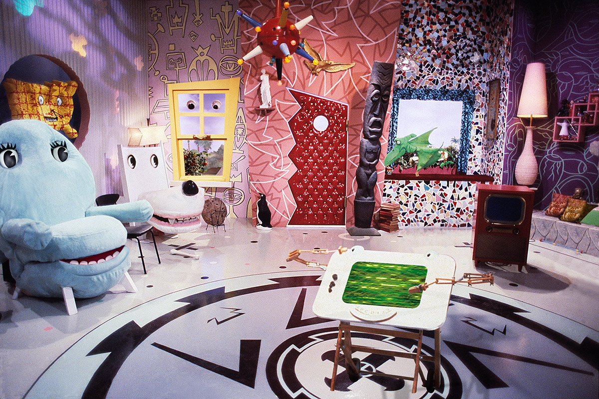 Review the mad genius of pee wee s playhouse now on for Playhouse interior designs