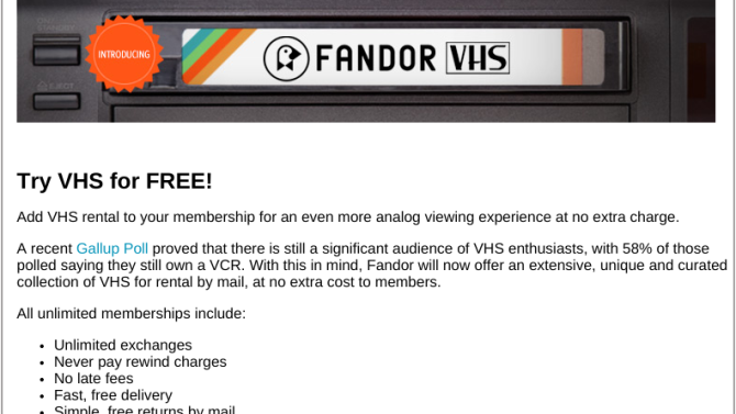 An April Fool's Gift: Fandor's VHS Prank Leads to Free Streaming of