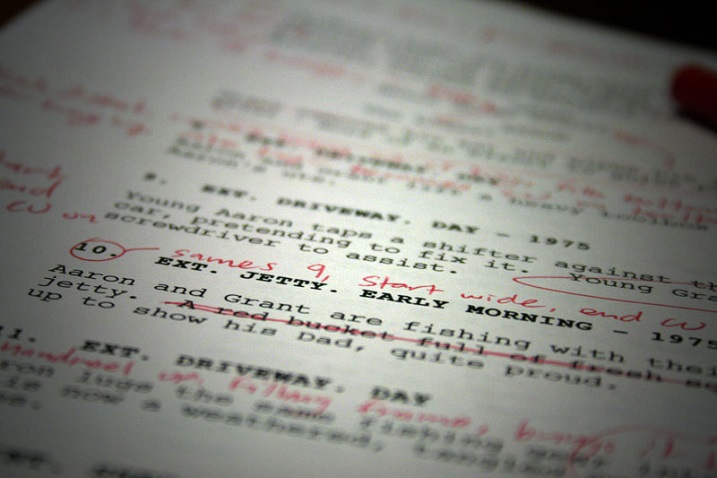 a paper of screenwriting with edits