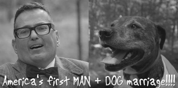 Watch scalia s worst nightmare as man and dog wed in for Best farcical films