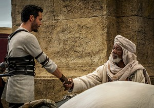 Jack Huston and Morgan Freeman in Ben-Hur