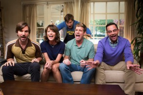 """THE LEAGUE -- """"The Great Night of Shiva"""" -- Episode 713 (Airs Wednesday, December 9, 10:00 pm e/p) Pictured: (l-r) Jonathan Lajoie as Taco, Katie Aselton as Jenny, Mark Duplass as Pete, Stephen Rannazzisi as Kevin, Nick Kroll as Ruxin. CR: Jessica Brooks/FX"""