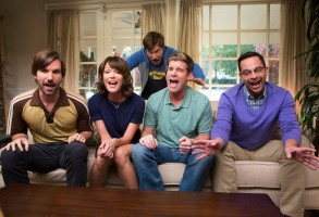 "THE LEAGUE -- ""The Great Night of Shiva"" -- Episode 713 (Airs Wednesday, December 9, 10:00 pm e/p) Pictured: (l-r) Jonathan Lajoie as Taco, Katie Aselton as Jenny, Mark Duplass as Pete, Stephen Rannazzisi as Kevin, Nick Kroll as Ruxin. CR: Jessica Brooks/FX"