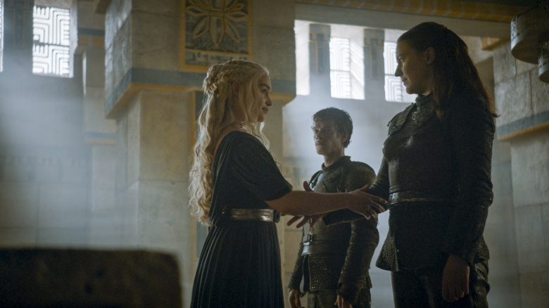"Emilia Clarke, Alfie Allen and Gemma Whelan in ""Game of Thrones."""