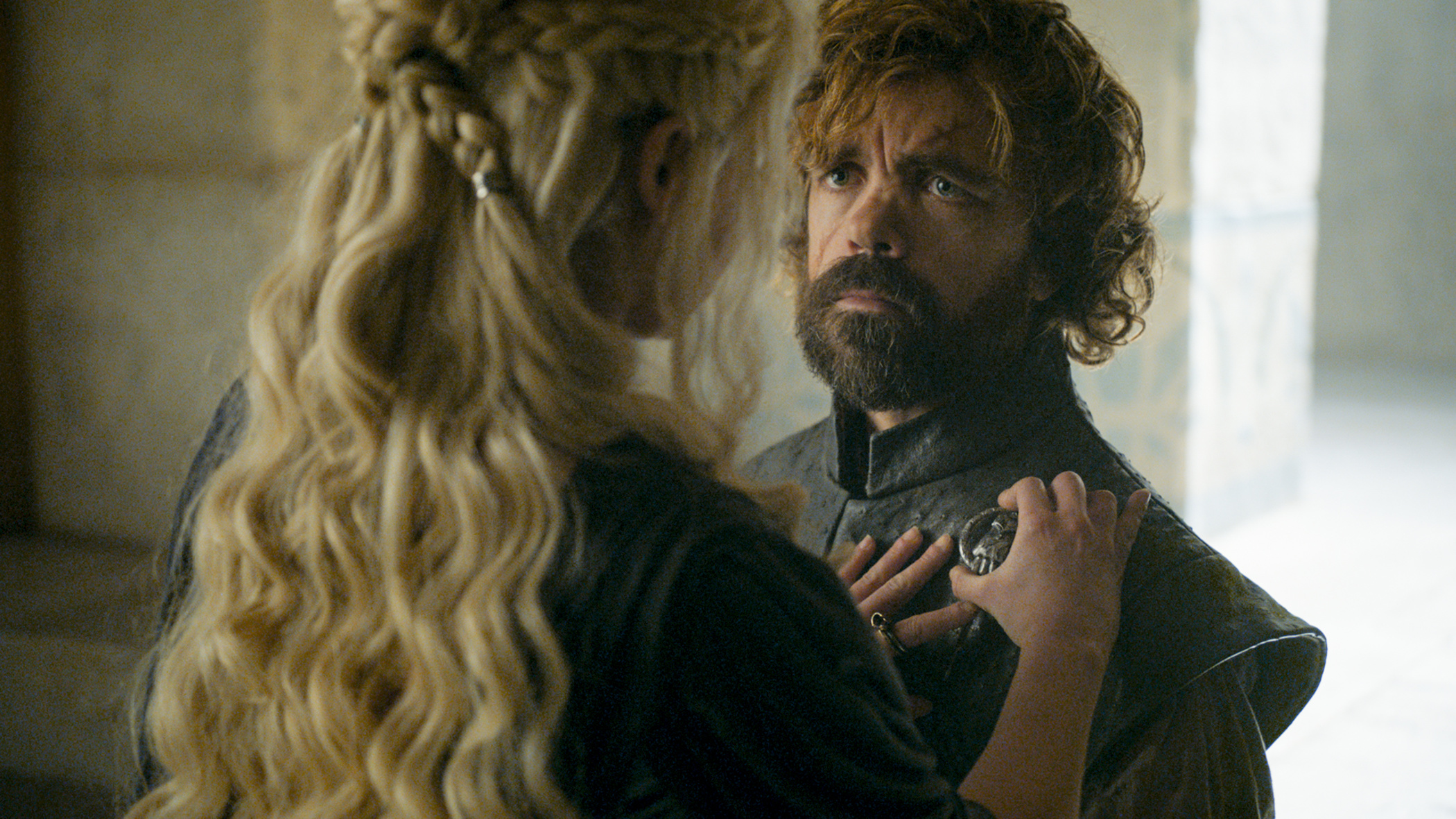 "Emilia Clark and Peter Dinklage in ""Game of Thrones."""