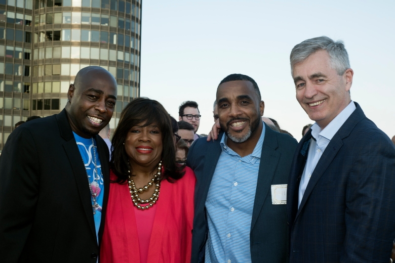 """The Stars of """"Hoop Dreams"""" Arthur Agee and William Gates, with Chaz Ebert and director Steve James"""