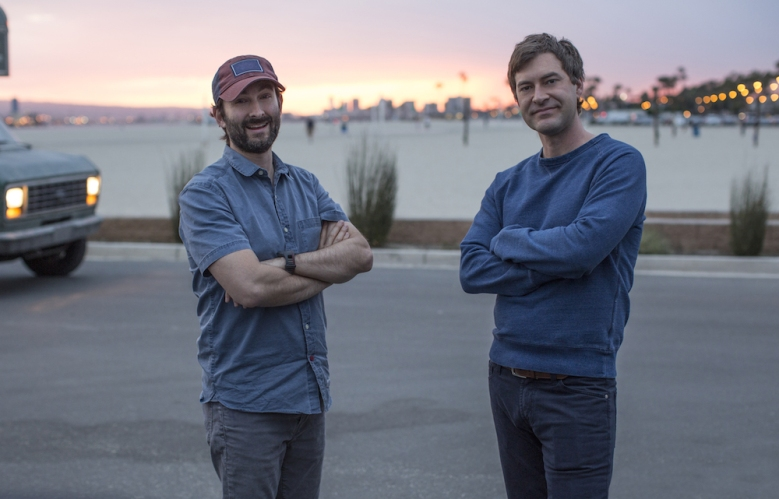 "Jay Duplass & Mark Duplass on the set of ""Togetherness"""