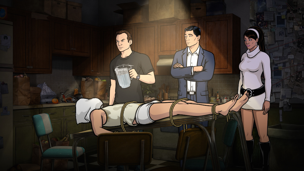 "ARCHER -- ""Liquid Lunch"" -- Episode 708 (Airs Thursday, May 19, 10:00pm e/p) Pictured: (l-r) Slater (voice of Christian Slater), Sterling Archer (voice of H. Jon Benjamin), Lana Kane (voice of Aisha Tyler). CR: FX"
