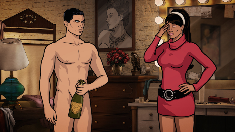 "ARCHER -- ""Deadly Velvet: Part I"" -- Episode 709 (Airs Thursday, May 26, 10:00pm e/p) Pictured: (l-r) Sterling Archer (voice of H. Jon Benjamin), Lana Kane (voice of Aisha Tyler). CR: FX"