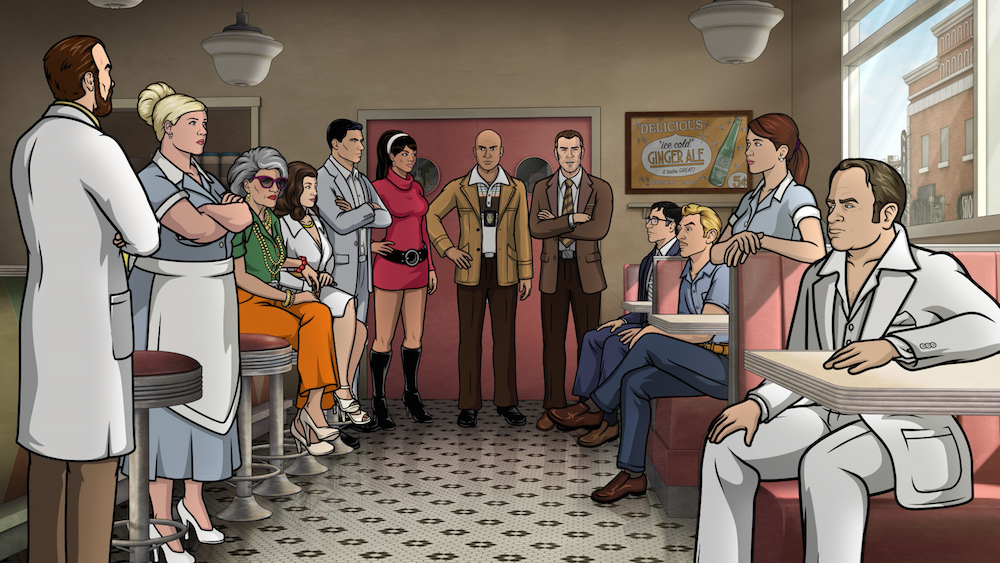 "ARCHER -- ""Deadly Velvet: Part II"" -- Episode 710 (Airs Thursday, June 2, 10:00pm e/p) Pictured: (l-r) Dr. Algernop Krieger (voice of Lucky Yates), Pam Poovey (voice of Amber Nash), Malory Archer (voice of Jessica Walter), Veronica Deane (voice of Mary McDonald-Lewis), Sterling Archer (voice of H. Jon Benjamin), Lana Kane (voice of Aisha Tyler), Dietrich (voice of Keegan-Michael Key), Harris (voice of J.K. Simmons), Cyril Figgis (voice of Chris Parnell), Ray Gillette (voice of Adam Reed), Cheryl (voice of Judy Greer), Alan Shapiro (voice of Patton Oswalt) CR: FX"