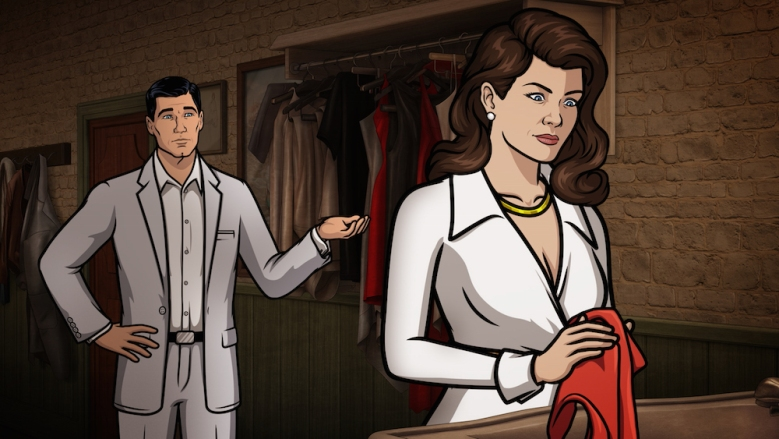 "ARCHER -- ""Deadly Velvet: Part II"" -- Episode 710 (Airs Thursday, June 2, 10:00pm e/p) Pictured: (l-r) Sterling Archer (voice of H. Jon Benjamin), Veronica Deane (voice of Mary McDonald-Lewis). CR: FX"