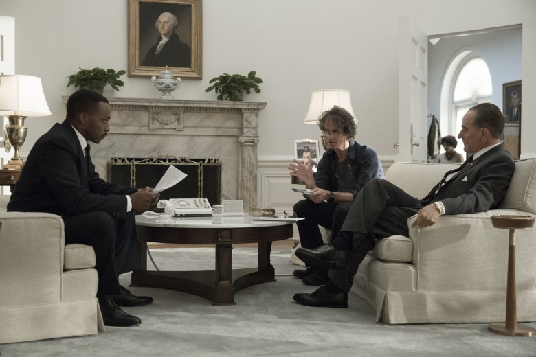 "Anthony Mackie, Jay Roach and Bryan Cranston on the set of ""All the Way."""