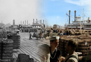 "Split screen picture of archival photo brought to life in ""Dinner with the Alchemist"""