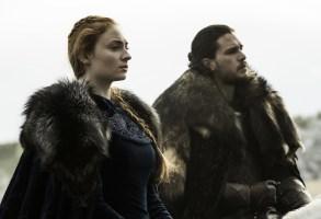 Sophie Turner as Sansa Stark and Kit Harington as Jon Snow
