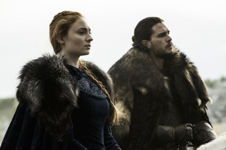 Sophie Turner as Sansa Stark and Kit Harington as Jon Snow