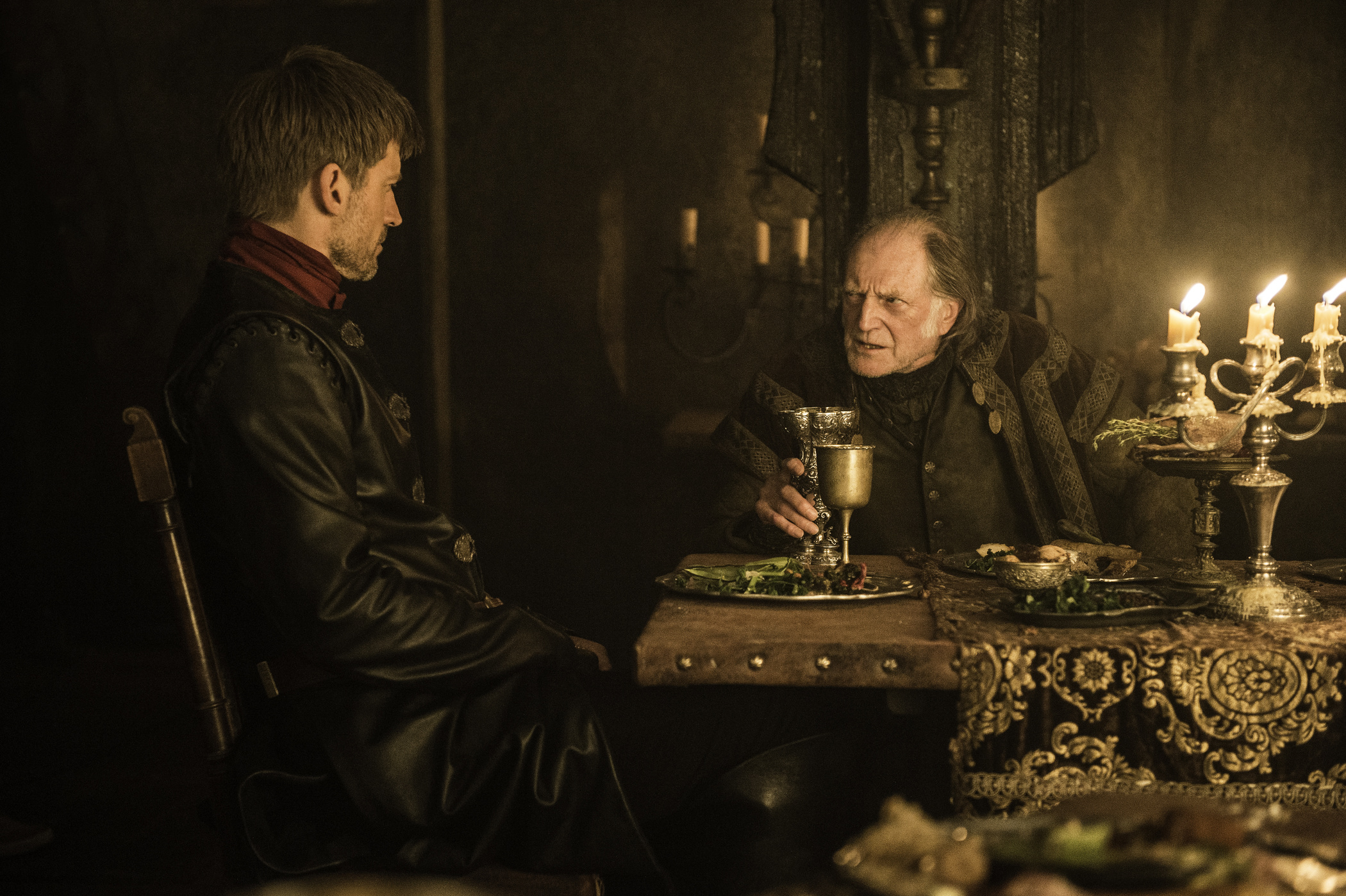 Nikolaj Coster-Waldau as Jaime Lannister and David Bradley as Walder Frey in Game of Thrones