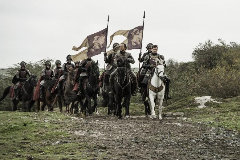 Jerome Flynn as Bronn and Nikolaj Coster-Waldau as Jaime Lannister in Game of Thrones
