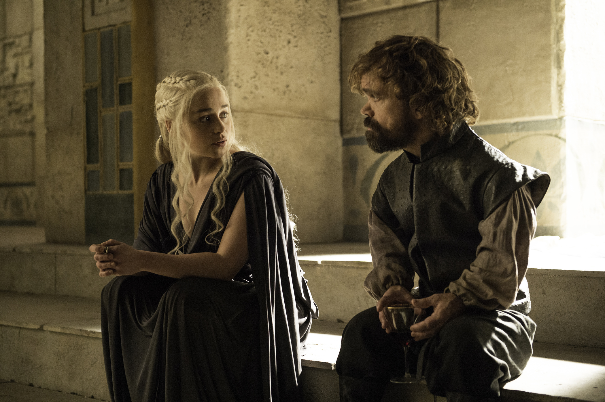 Emilia Clarke as Daenerys Targaryen and Peter Dinklage as Tyrion Lannister in Game of Thrones