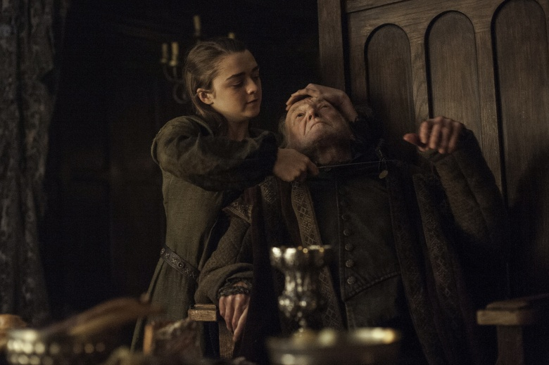 "Maisie Williams and David Bradley in ""Game of Thrones."""