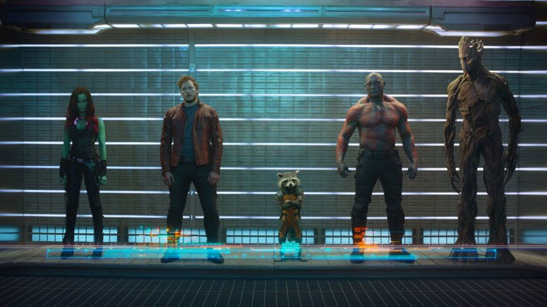 Chris Pratt, Zoe Saldana, Dave Bautista, Vin Diesel and Bradley Cooper in Guardians of the Galaxy