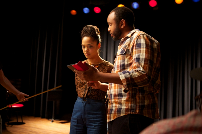 "Tessa Thompson and Justin Simien on the set of ""Dear White People"""