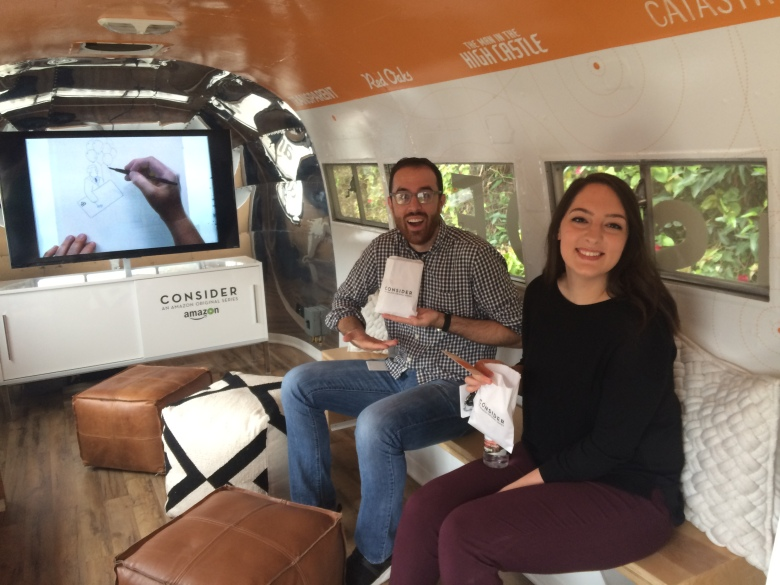 Two of IndieWire's finest enjoy the Amazon Studios Airstream.