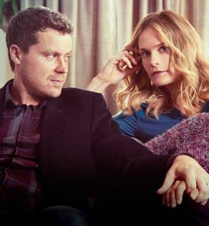 "Greg Poehler and Rachel Blanchard in ""You Me Her."""