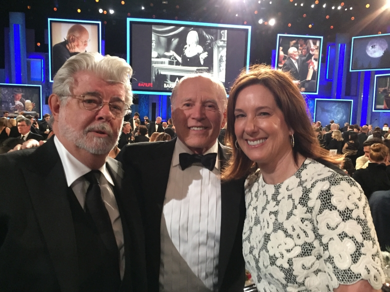 George Lucas, Frank Marshall and Kathleen Kennedy.