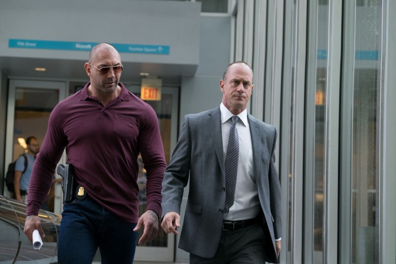 Christopher Meloni and Dave Bautista in Marauders