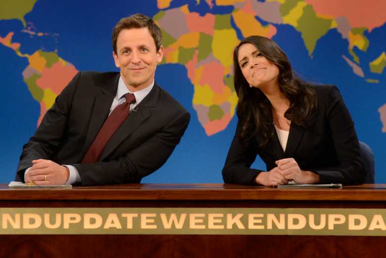"""Seth Meyers and Cecily Strong on """"Weekend Update"""""""