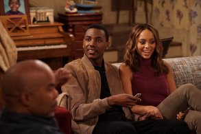 "THE CARMICHAEL SHOW -- ""Fallen Heroes"" Episode 202 -- Pictured: (l-r) Jerrod Carmichael as Jerrod Carmichael, Amber Stevens West as Maxine -- (Photo by: Chris Haston/NBC)"