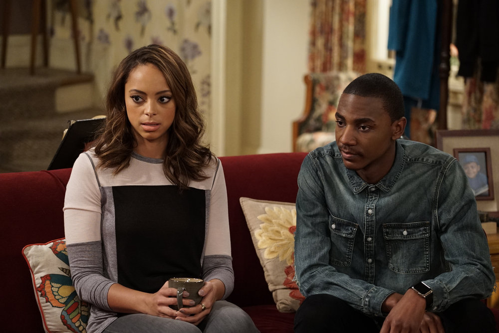 """THE CARMICHAEL SHOW -- """"The Funeral"""" Episode 203 -- Pictured: (l-r) Amber Stevens West as Maxine, Jerrod Carmichael as Jerrod Carmichael -- (Photo by: Chris Haston/NBC)"""