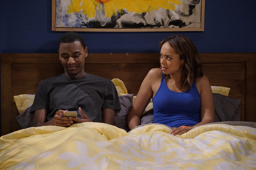 "THE CARMICHAEL SHOW -- ""Gentrifying Bobby"" Episode 206 -- Pictured: (l-r) Jerrod Carmichael as Jerrod Carmichael, Amber Stevens West as Maxine -- (Photo by: Chris Haston/NBC)"