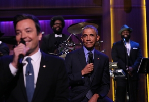 """Jimmy Fallon and President Barack Obama on """"The Tonight Show."""""""