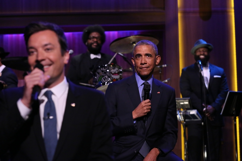 "Jimmy Fallon and President Barack Obama on ""The Tonight Show."""