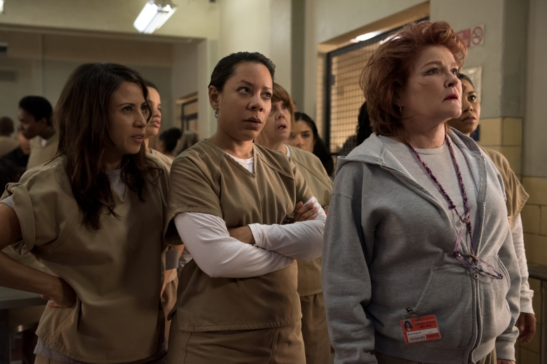 "Kate Mulgrew, Selenis Leyva and Elizabeth Rodriguez in ""Orange is the New Black."""