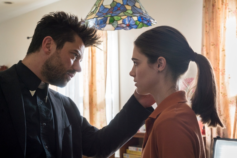 "Dominic Cooper and Lucy Griffiths in ""Preacher."""