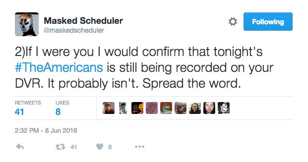 Masked Scheduler Tweet