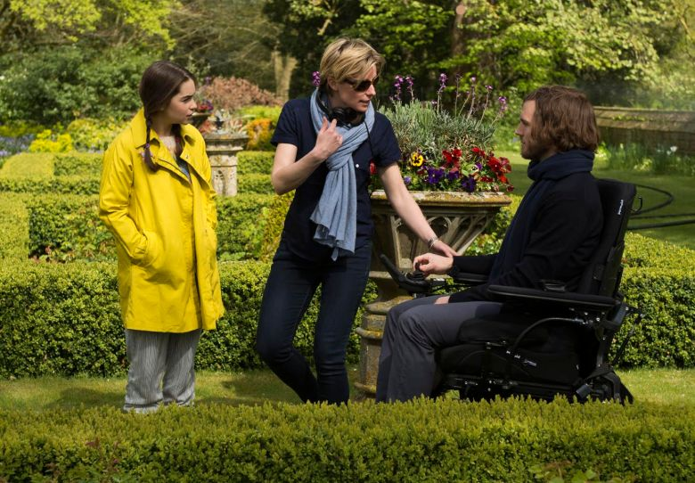 "Thea Sharrock, Emilia Clarke and Sam Claflin on the set of ""Me Before You"""