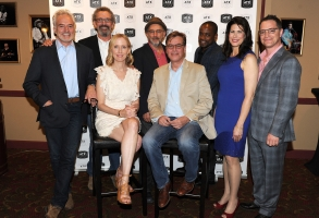 """AUSTIN, TX - JUNE 11: The cast of the West Wing, Joshua Malina, Janel Moloney, Bradley Whitford, Dulé Hill, Melissa Fitzgerald, and Richard Schiff with Director Thomas Schlamme and Series Creator Aaron Sorkin attend the """"The West Wing Administration"""" panel during the 2016 ATX Television Festival at the Paramount Theatre on June 11, 2016, in Austin, Texas. (Photo by Frank Micelotta/Picturegroup)"""