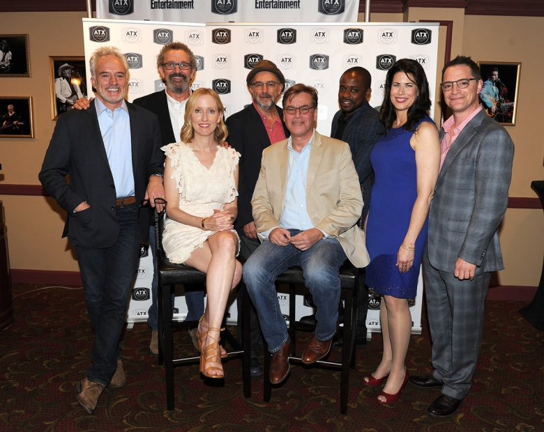 "AUSTIN, TX - JUNE 11: The cast of the West Wing, Joshua Malina, Janel Moloney, Bradley Whitford, Dulé Hill, Melissa Fitzgerald, and Richard Schiff with Director Thomas Schlamme and Series Creator Aaron Sorkin attend the ""The West Wing Administration"" panel during the 2016 ATX Television Festival at the Paramount Theatre on June 11, 2016, in Austin, Texas. (Photo by Frank Micelotta/Picturegroup)"