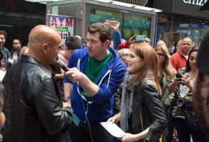 """Billy Eichner and Julianne Moore in """"Billy on the Street."""""""