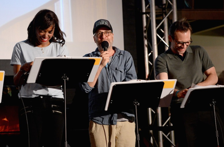 """SAN DIEGO, CA - JULY 21: (L-R) Actors Aisha Tyler, H. Jon Benjamin and Christian Slater speak at """"ARCHER Live!"""" during Comic-Con International 2016 at Hilton Bayfront on July 21, 2016 in San Diego, California. (Photo by Michael Kovac/Getty Images for FX)"""