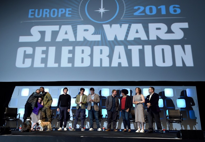 Mark Hamill, Carrie Fisher, John Boyega, Alden Ehrenreich, Phil Lord, Chris Miller, Rian Johnson, Kiri Hart, Kathleen Kennedy and Pablo Hidalgo on stage during Future Directors Panel at Star Wars Celebration