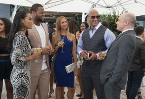 "Brooklyn Sudano, Ndamukong Suh, Arielle Kebbel, Dwayne Johnson, Rob Corddry in ""Ballers."""