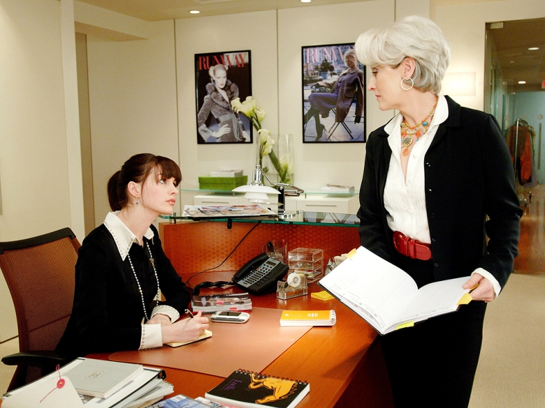 "Anne Hathaway and Meryl Streep in ""The Devil Wears Prada"""