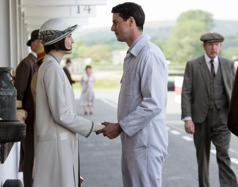 Downton Abbey Part Seven - Sunday, February 14, 2016 at 9pm ET on MASTERPIECE on PBS A car race gives Mary flashbacks. Mrs. Patmore opens for business. Mrs. Hughes tricks Carson. Things get serious for Edith. Robert gets a surprise gift. Shown from left to right: Michelle Dockery as Lady Mary and Matthew Goode as Henry Talbot (C) Nick Briggs/Carnival Film & Television Limited 2015 for MASTERPIECE This image may be used only in the direct promotion of MASTERPIECE CLASSIC. No other rights are granted. All rights are reserved. Editorial use only. USE ON THIRD PARTY SITES SUCH AS FACEBOOK AND TWITTER IS NOT ALLOWED.